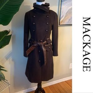 MACKAGE Jacket Trench Coat Military Wool Cashmeres Size xsmall